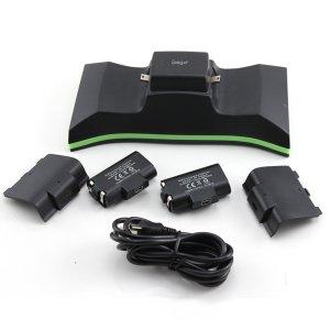 Dual cargador para mandos de videojuegos Xbox One IPEGA PG-X001 + Paquete de baterías - Negro
